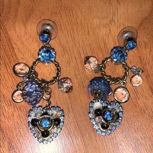 Betsey Johnson Blue Cluster Heart Charm Earrings